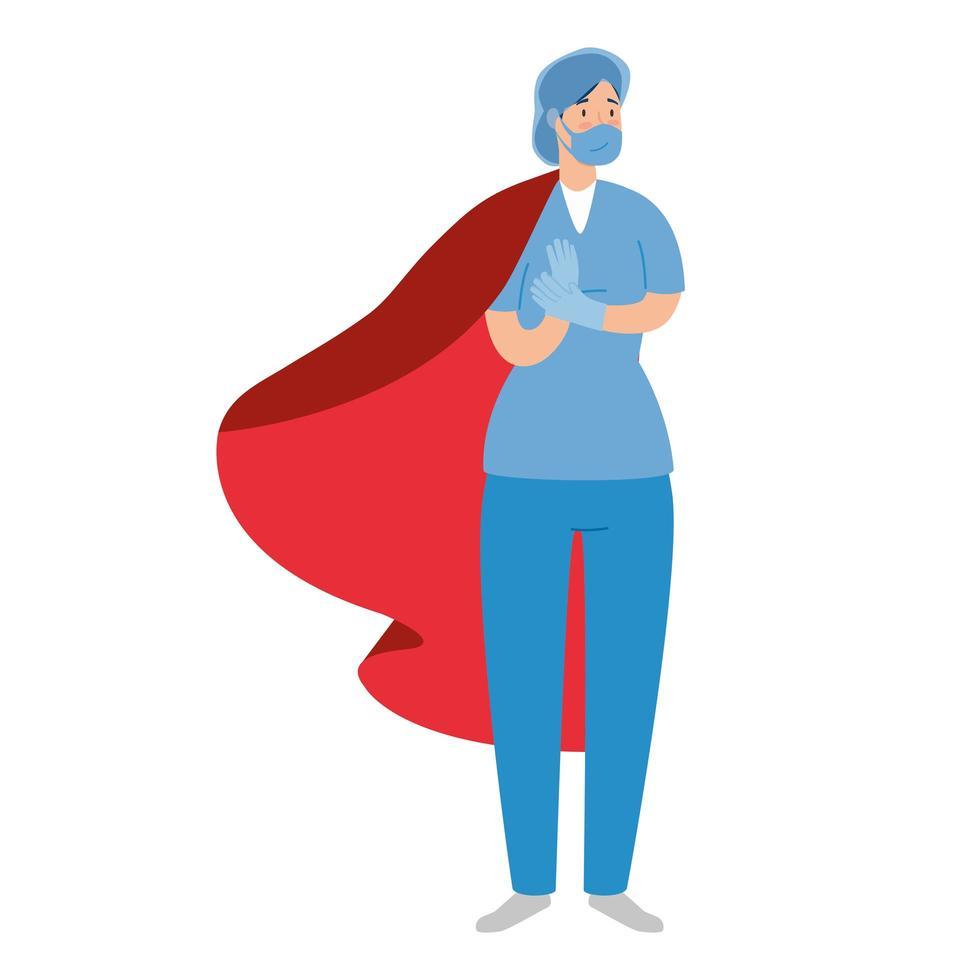 médica como uma super heroína vetor