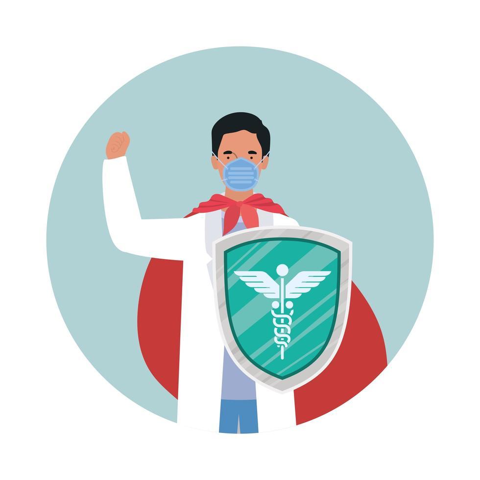 herói homem médico com capa e escudo contra desenho vetorial de vírus ncov 2019 vetor