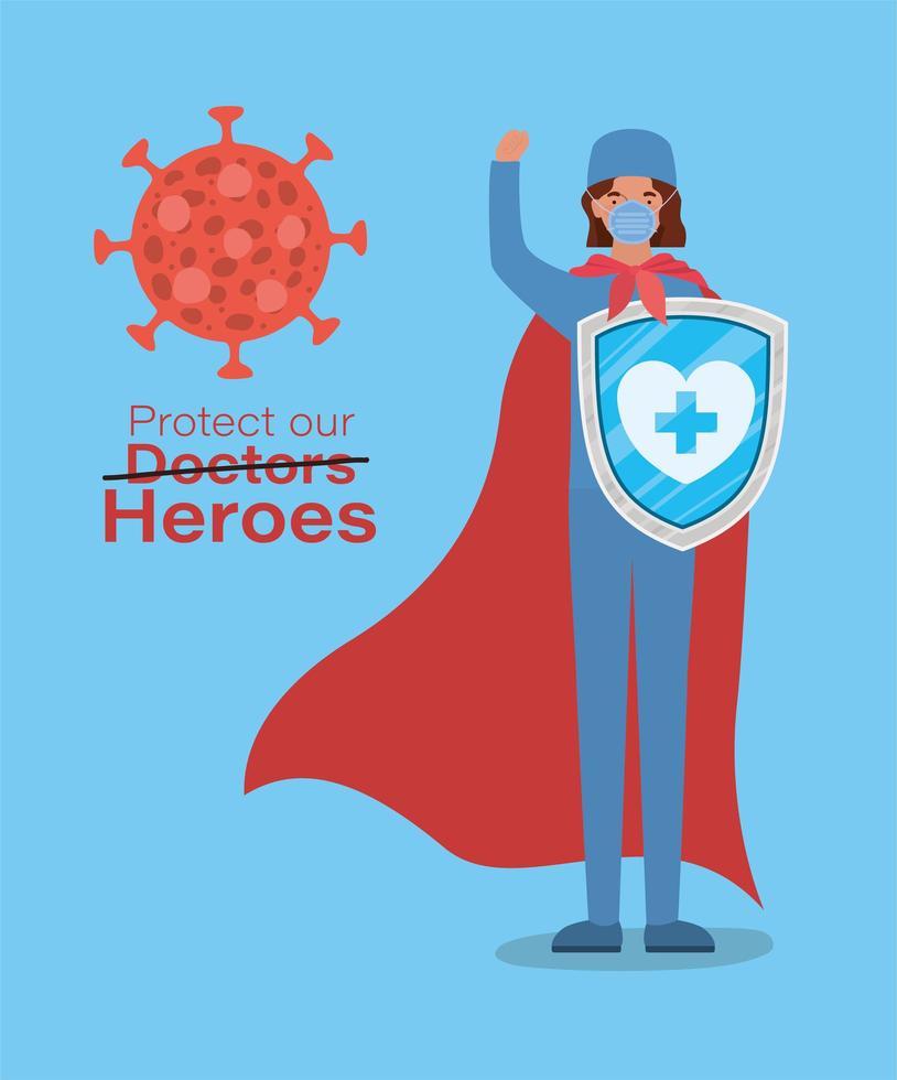 Mulher doutora heroína com capa e escudo contra desenho vetorial de 2019 vetor