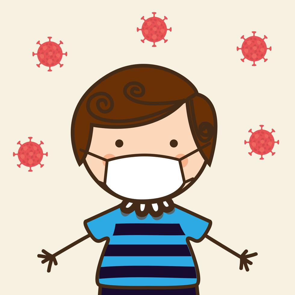 menino garoto com máscara contra desenho vetorial de vírus ncov 2019 vetor