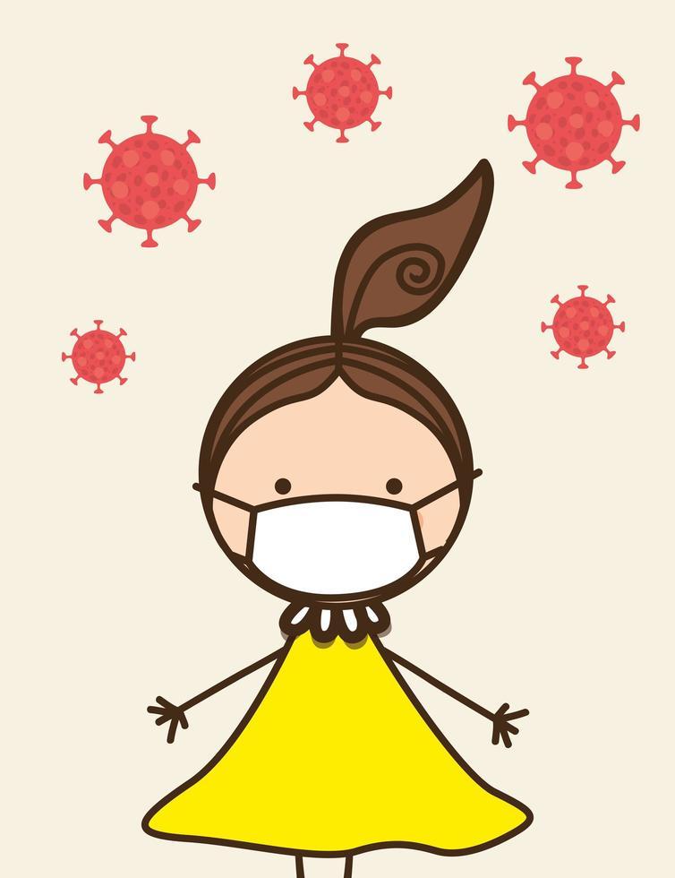 menina criança com máscara contra desenho vetorial de vírus ncov 2019 vetor