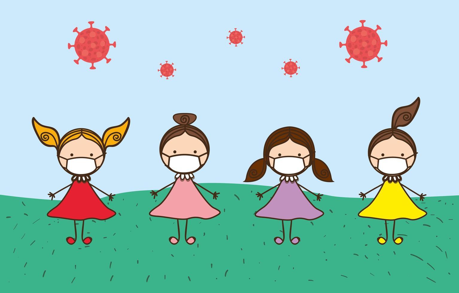 meninas crianças com máscaras contra desenho vetorial de vírus ncov 2019 vetor