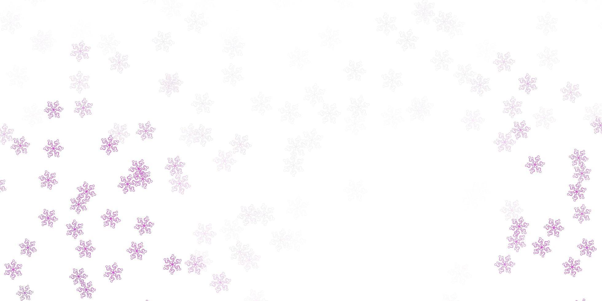 padrão de doodle de vetor rosa claro com flores.