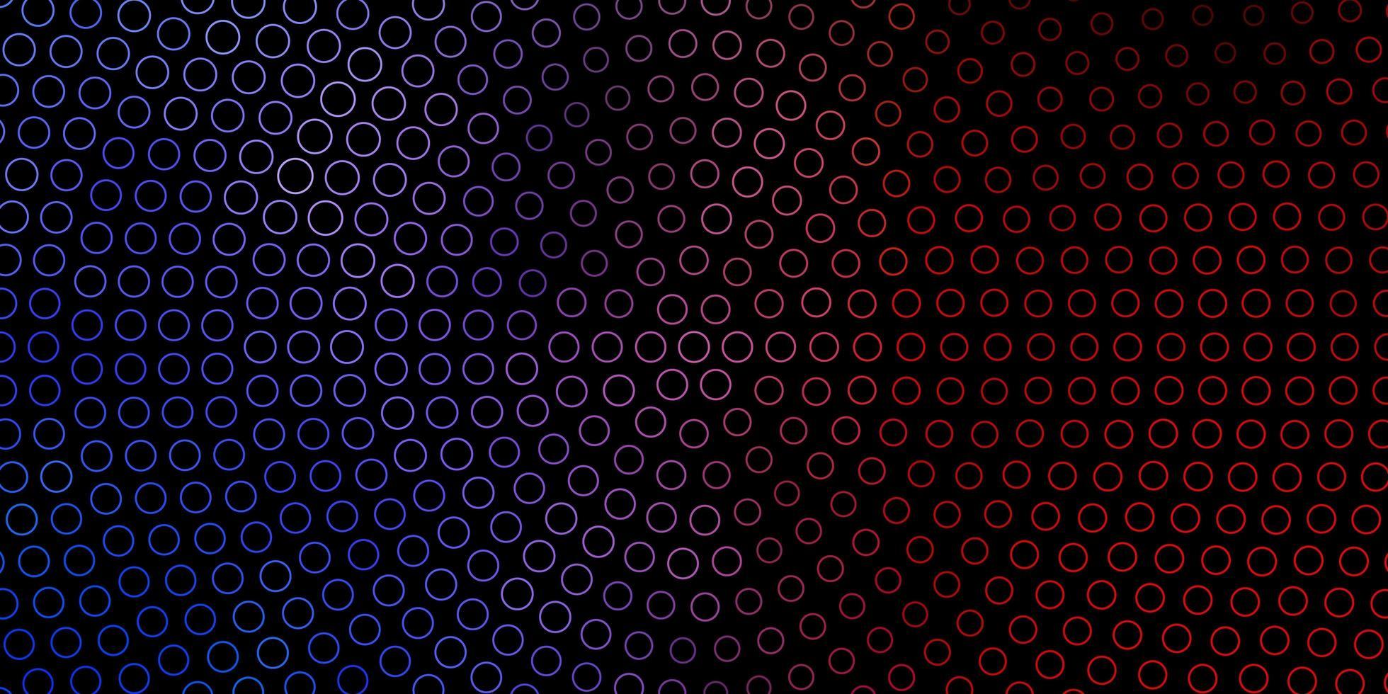 pano de fundo vector azul e vermelho escuro com círculos.