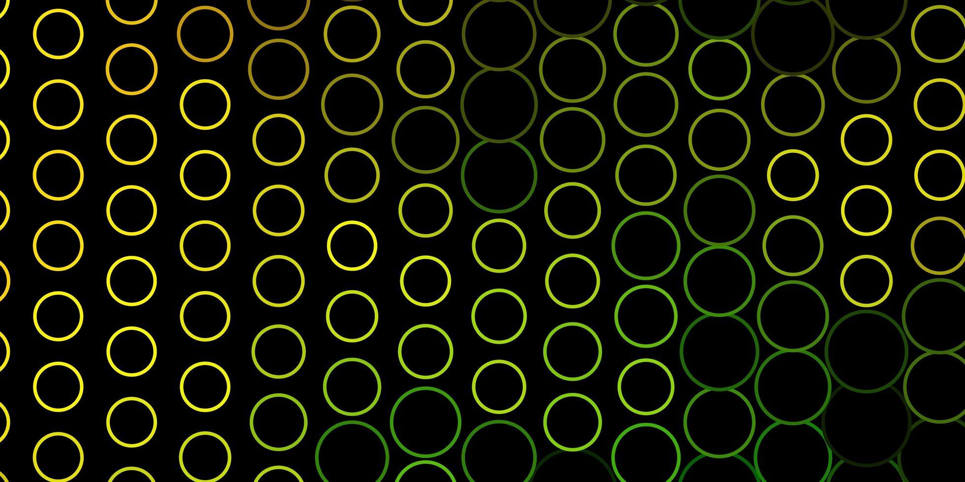 padrão de vetor verde e amarelo escuro com círculos.