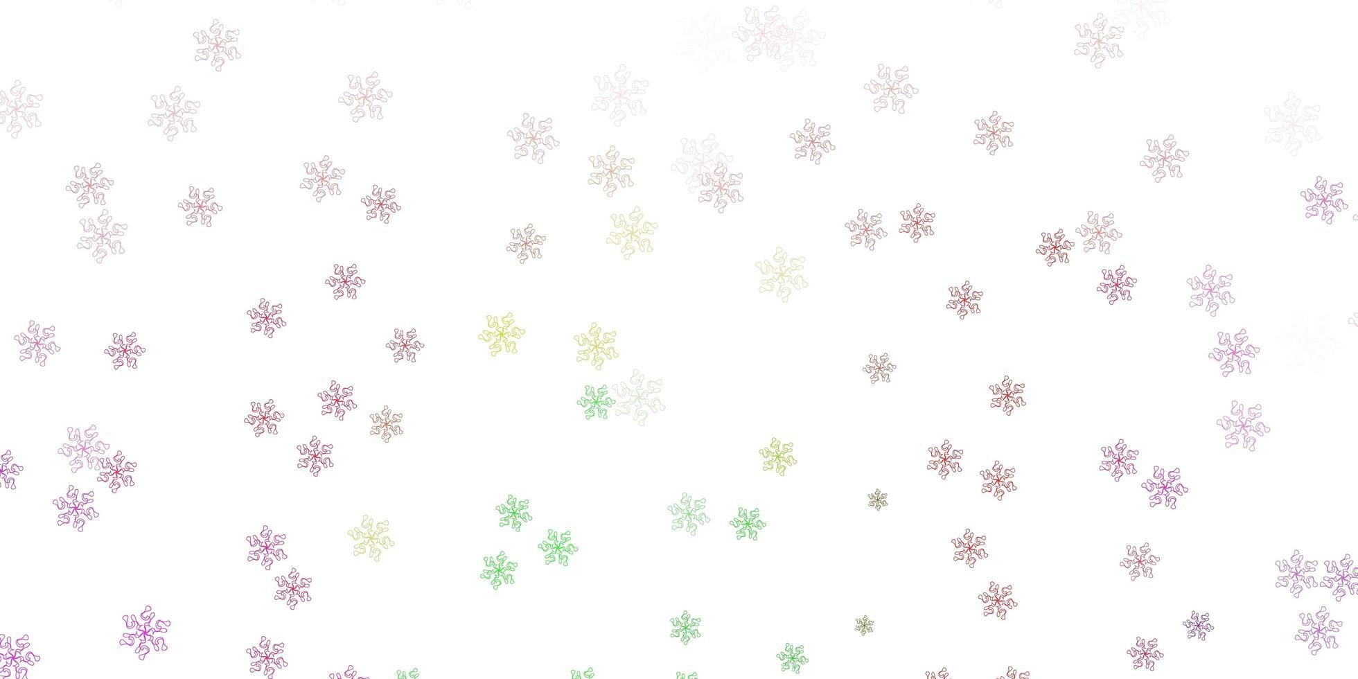 luz rosa, verde vetor doodle textura com flores.