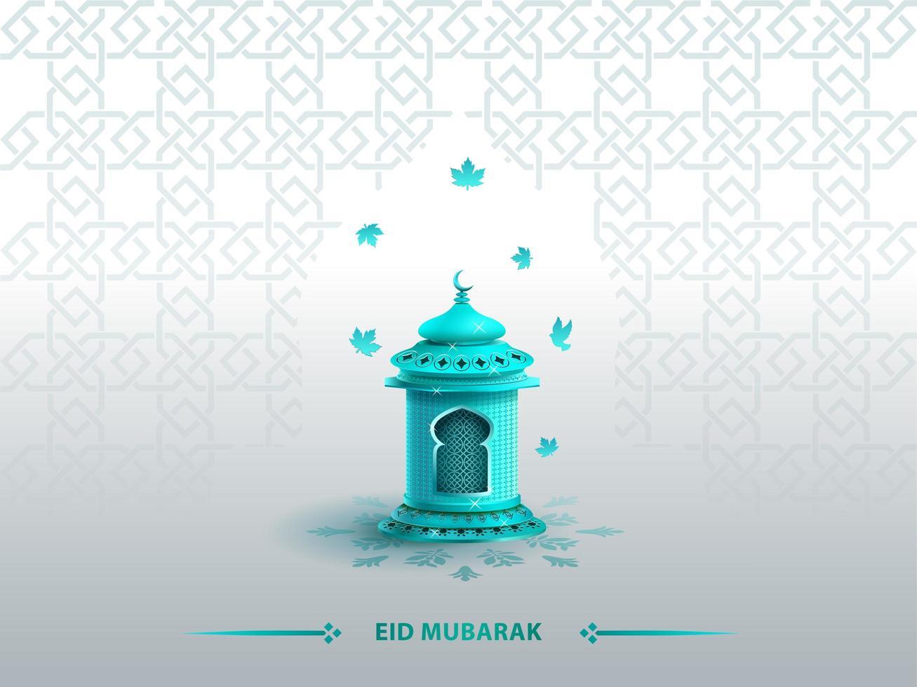 Modelo de design de cartão islâmico saudações eid mubarak com lanterna azul vetor