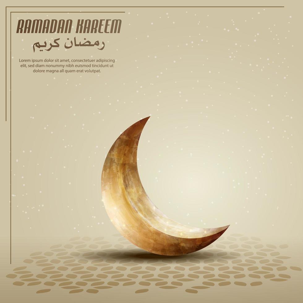 Saudações islâmicas ramadan kareem cartão de fundo com lua crescente dourada vetor