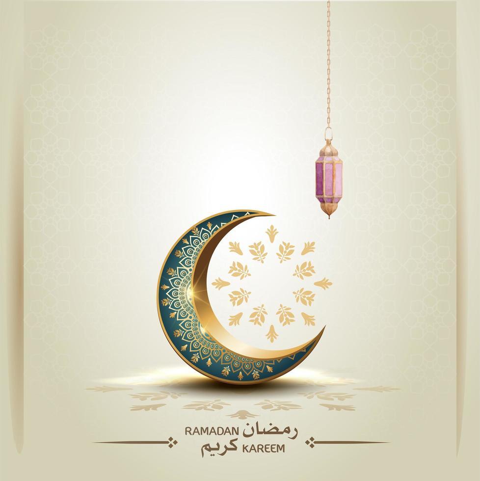 saudação islâmica ramadan kareem cartão design plano de fundo vetor