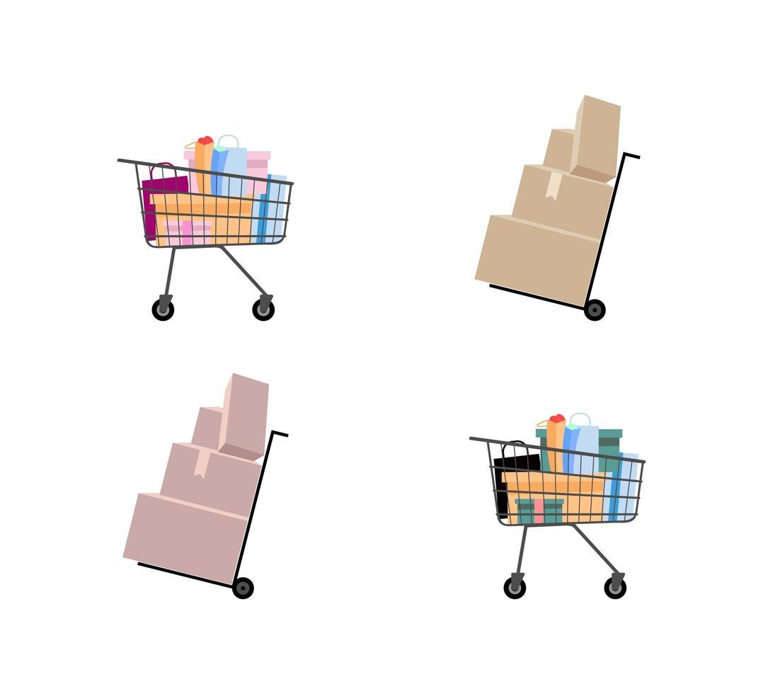 carrinho de mão e carrinho de supermercado vetor
