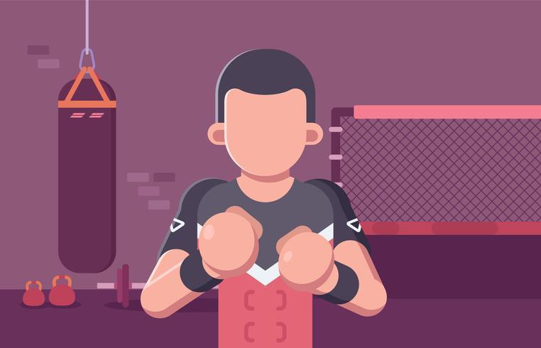 lutador de luta final em instalações de treinamento vetor