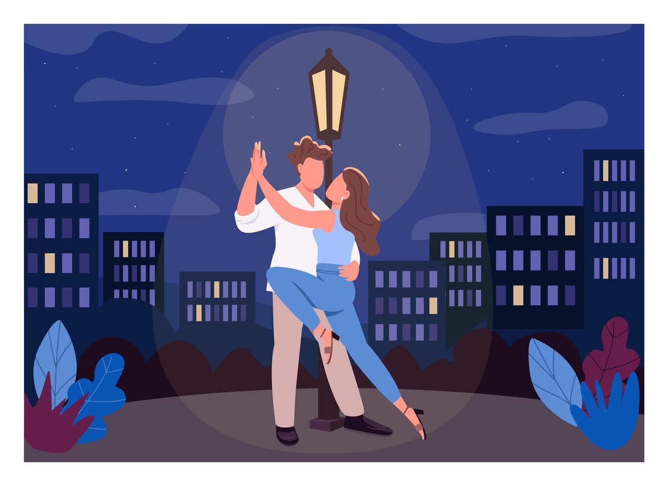 ilustração em vetor cor lisa noite romântica