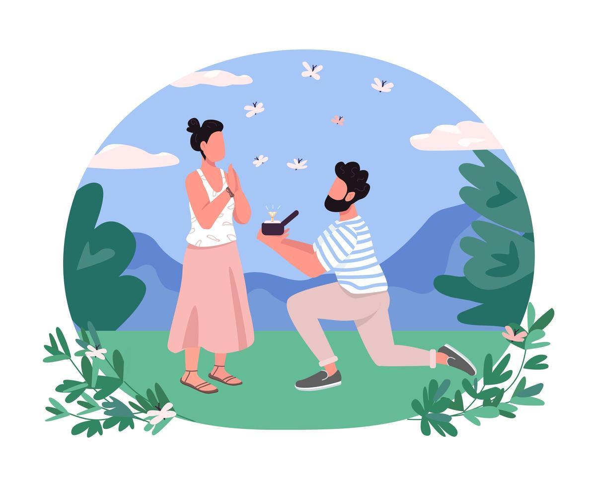 banner da web de vetor 2d de proposta de casamento, cartaz
