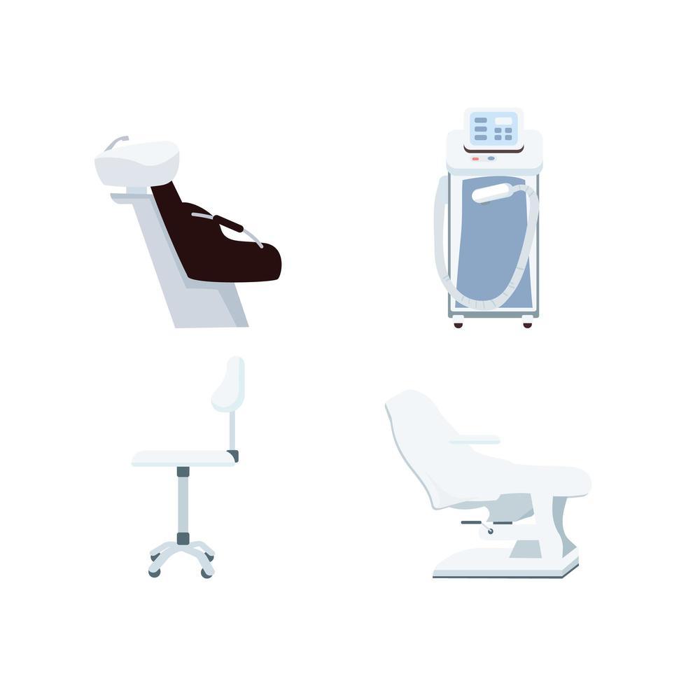 conjunto de objetos vetoriais de cores planas de equipamentos de salão de beleza vetor