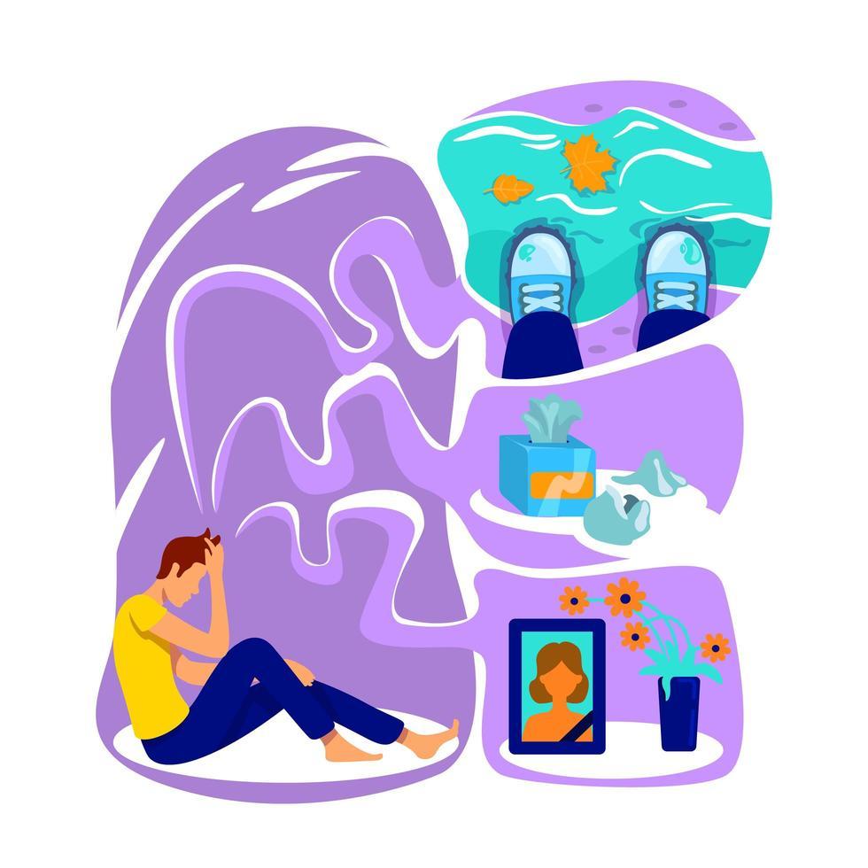 ilustração em vetor conceito plana depressão