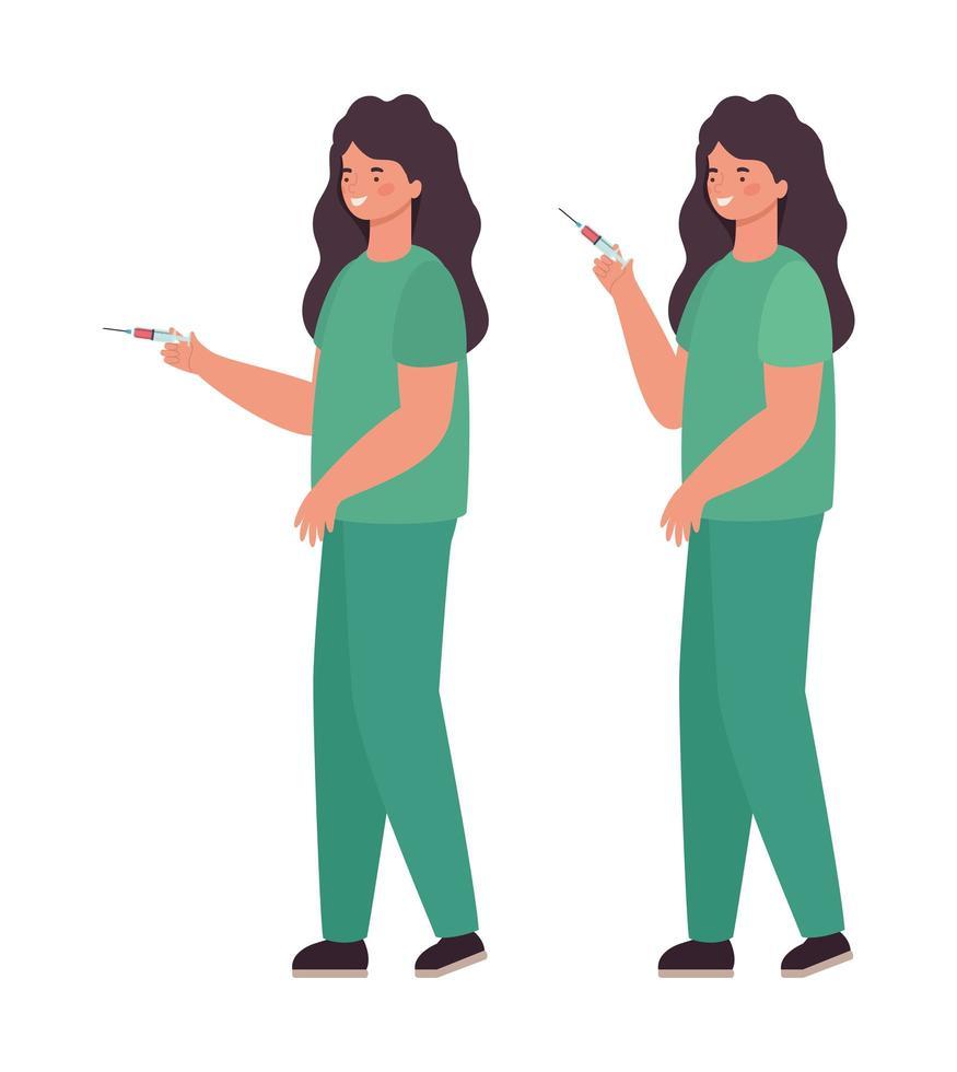 mulheres médicas com uniformes e design de vetor de injeção