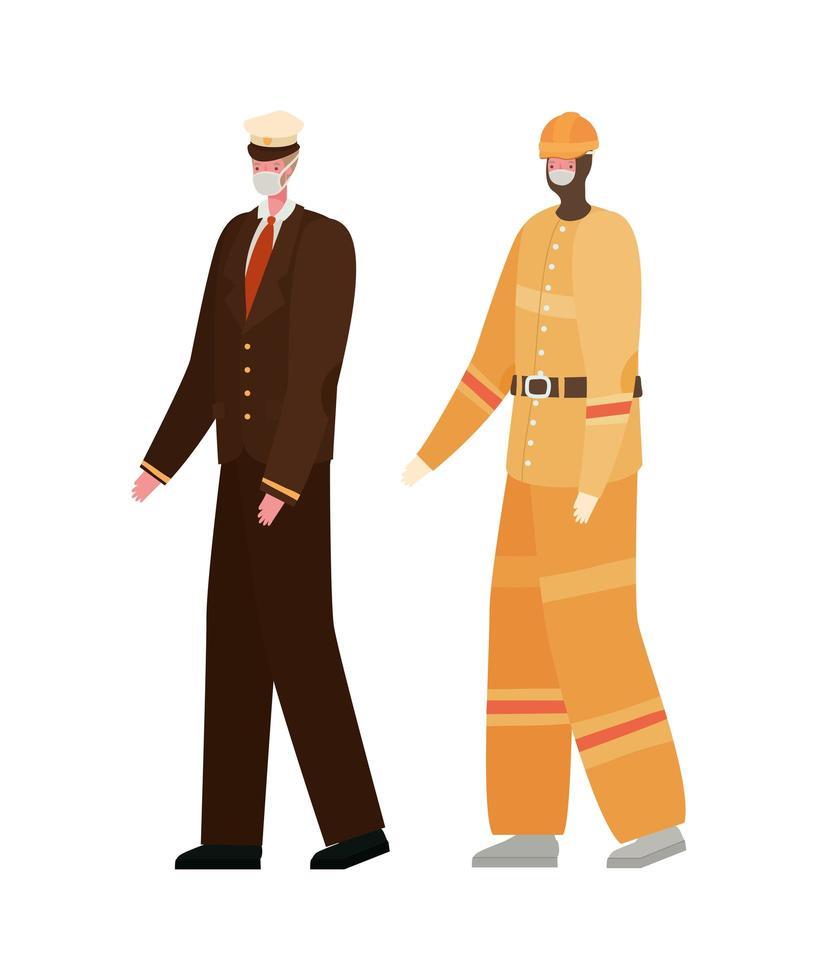 Construtor masculino e capitão com desenho vetorial de máscaras vetor