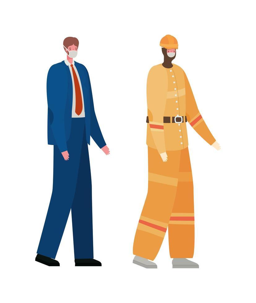construtor masculino e empresário com desenho vetorial de máscaras vetor