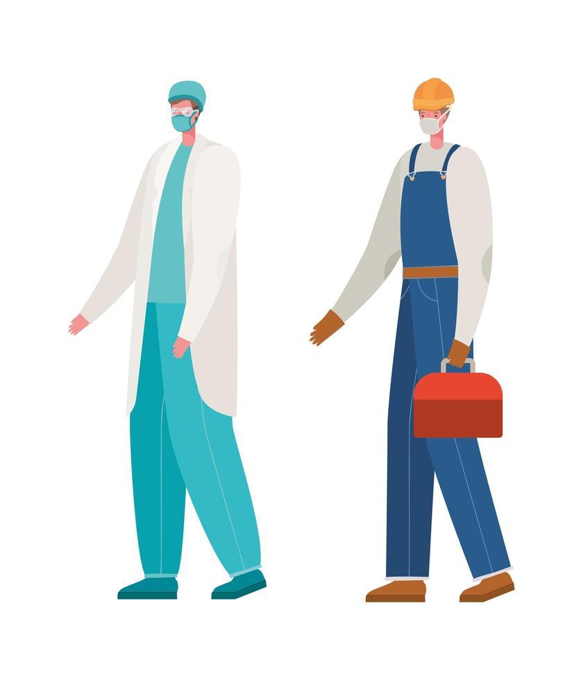 médico e construtor isolado com máscaras de desenho vetorial vetor