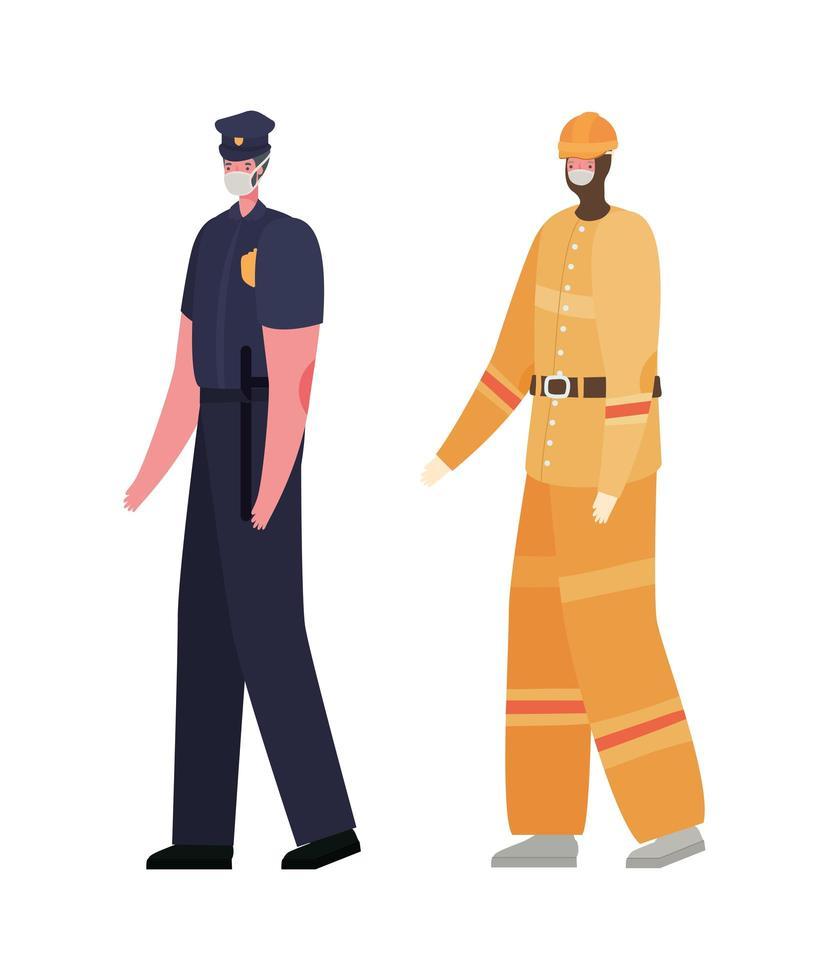 construtor masculino e polícia com desenho vetorial de máscaras vetor