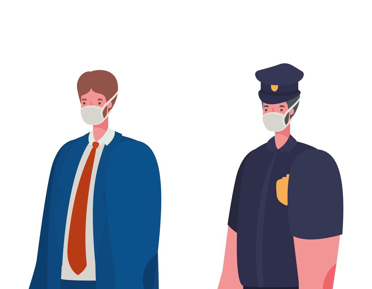 policial masculino e empresário com desenho vetorial de máscaras vetor