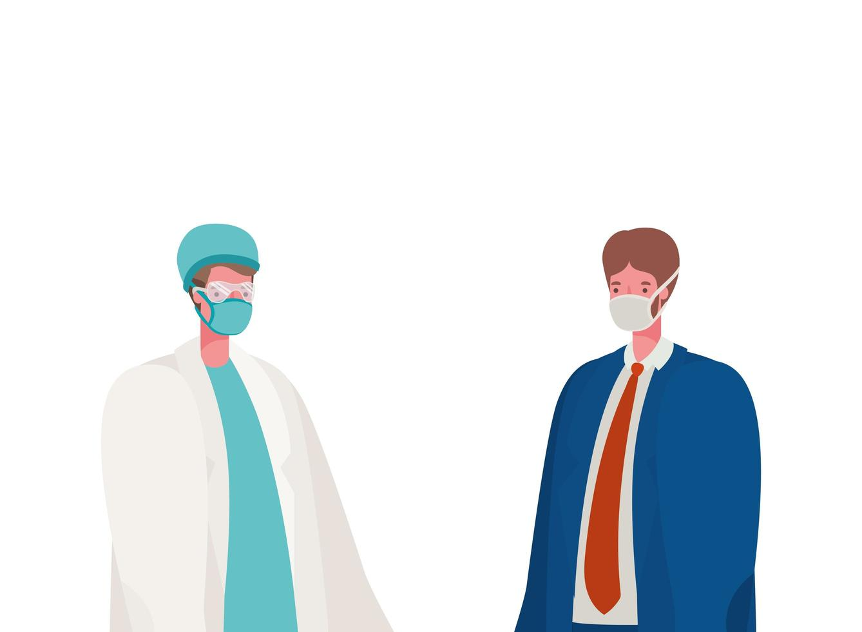 isolado médico e empresário com máscaras de desenho vetorial vetor
