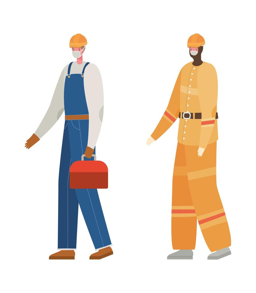 construtores masculinos com desenho vetorial de máscaras vetor