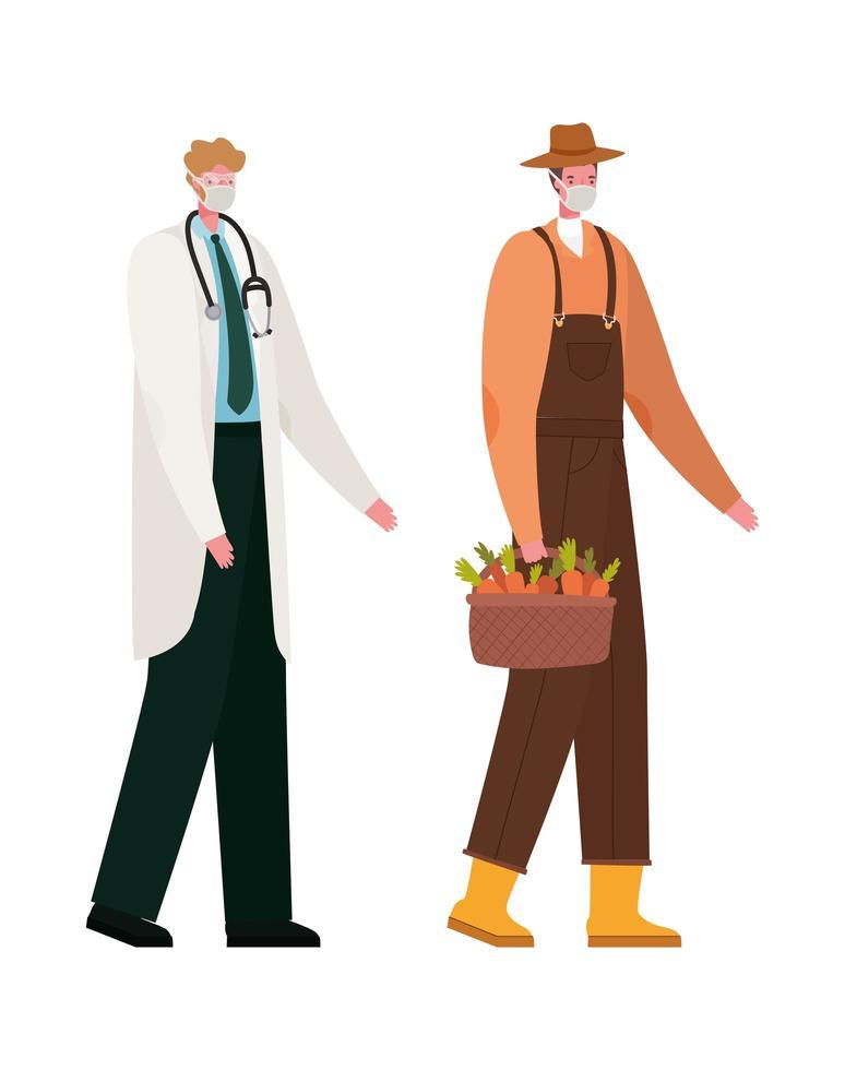 Médico e jardineiro masculino isolado com desenho vetorial de máscaras vetor