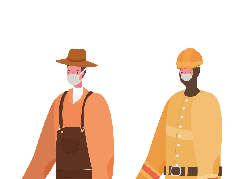 jardineiro e construtor masculino com desenho vetorial de máscaras vetor