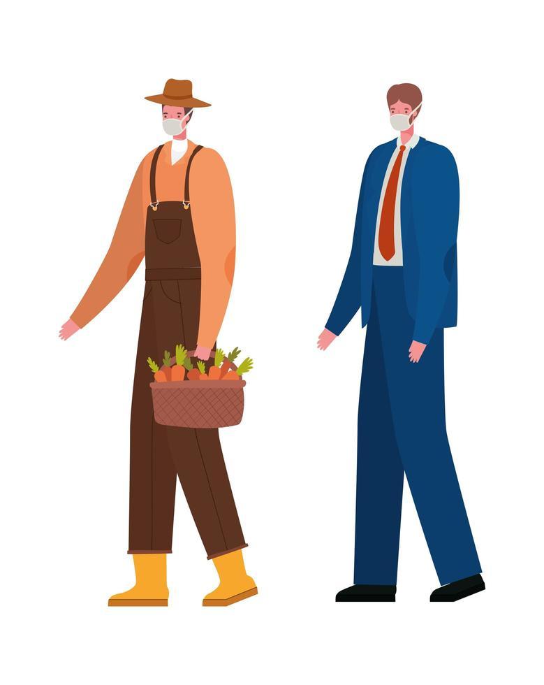 jardineiro masculino e empresário com desenho vetorial de máscaras vetor