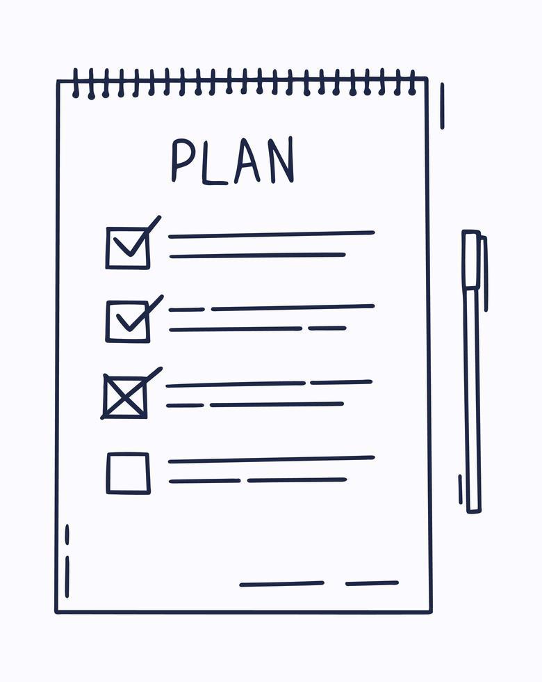 plano ou para fazer o conceito de lista com texto desenhado à mão. lista de verificação, ilustração vetorial de lista de tarefas em estilo cartoon plana sobre fundo branco. vetor