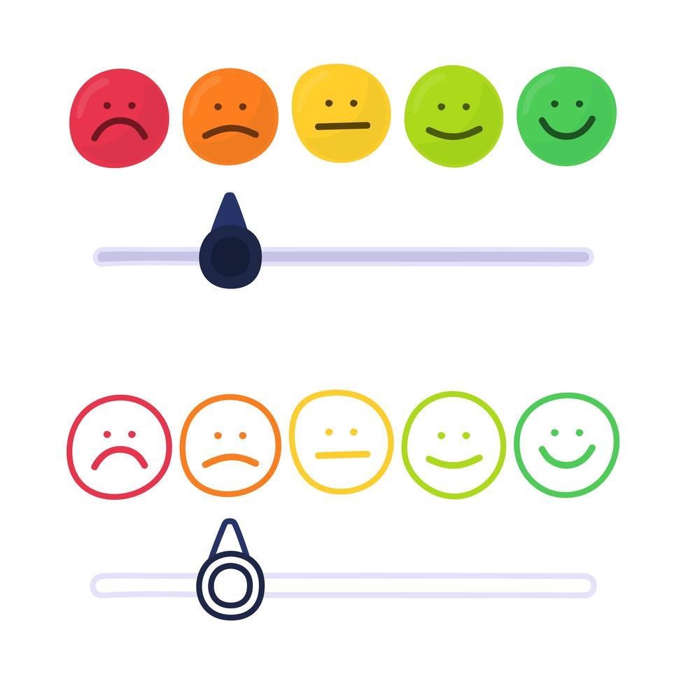 feedback ou escala de avaliação com sorrisos representando várias emoções no estilo de desenho de mão. revisão do cliente e avaliação do serviço ou produto. ilustração vetorial colorida em estilo doodle vetor