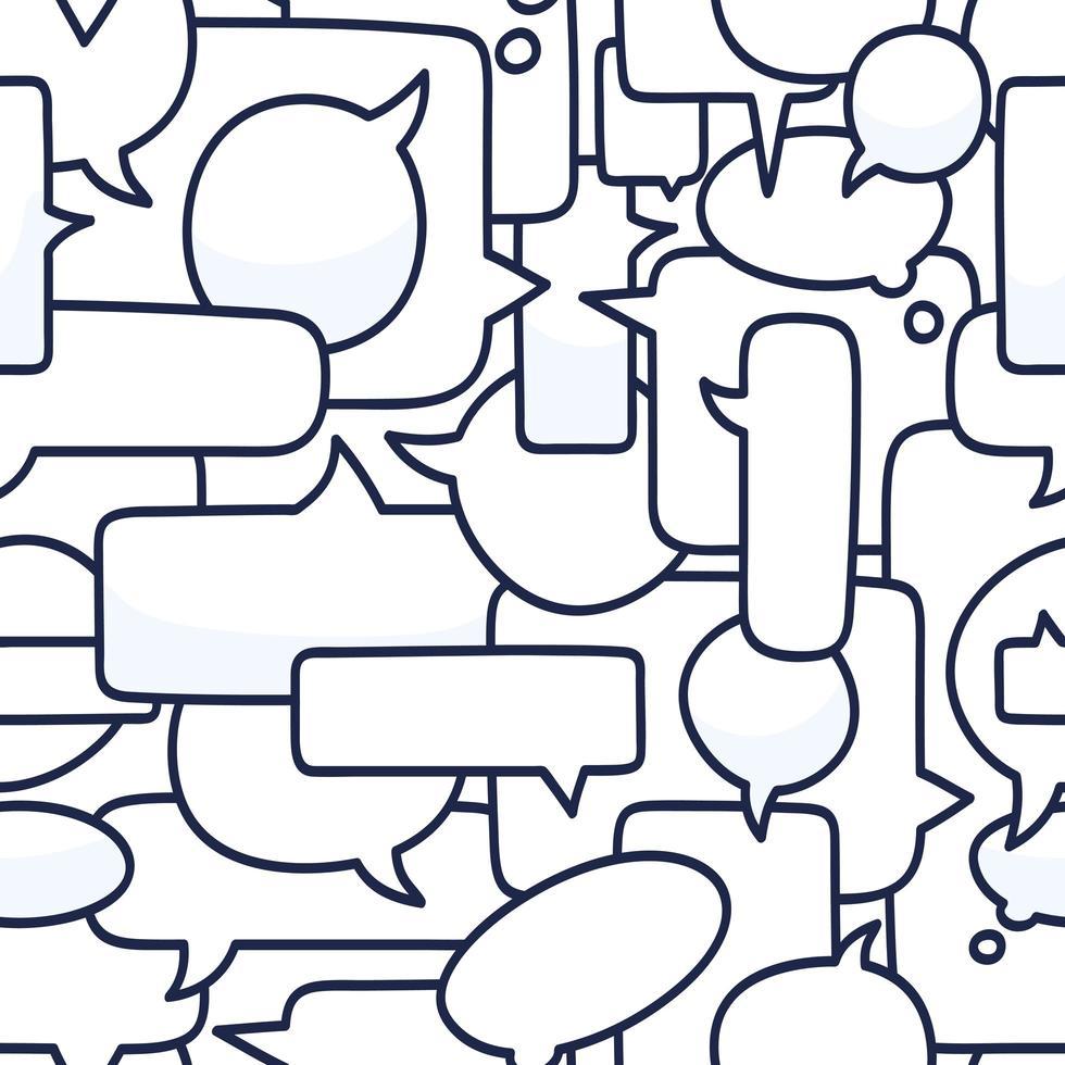 mão desenhada discurso bolhas sem costura padrão ilustração vetorial no fundo branco. Doodle talk ou chat padrão de bolha vetor