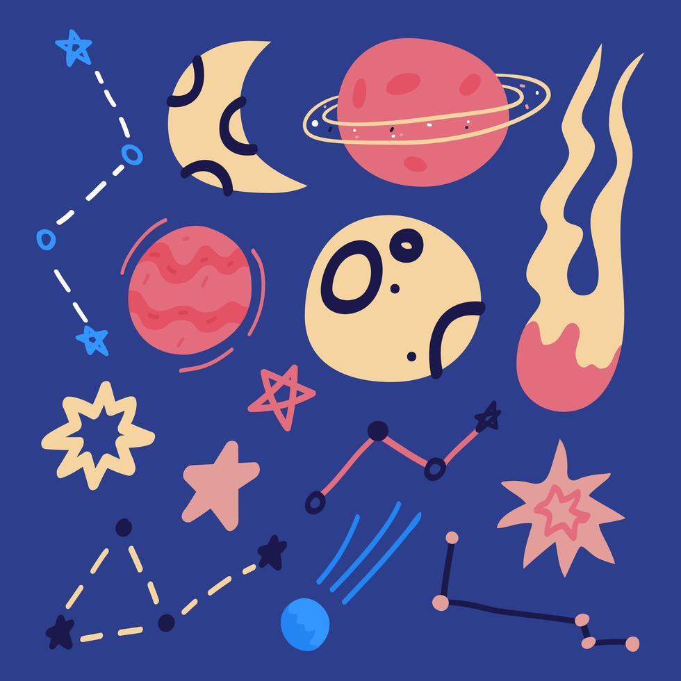 conjunto de elemento de espaço de desenho plano de mão desenhada - foguete, planetas e estrelas isoladas em azul. vetor