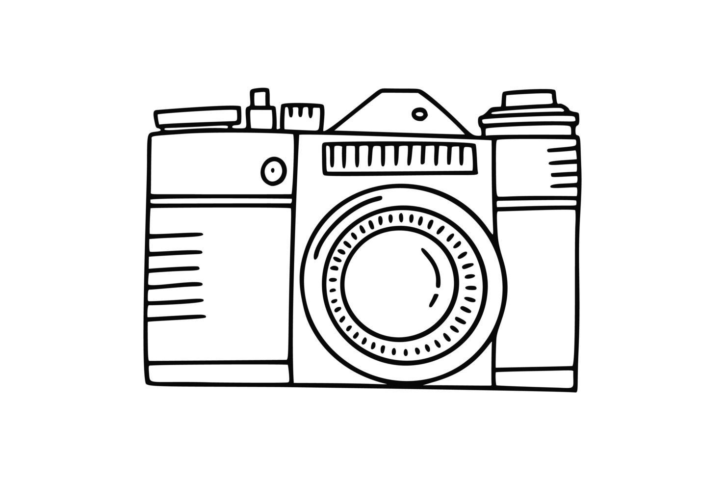 ícone de doodle de câmera fotográfica. mão desenhada vetor ícone foto conceito em fundo branco