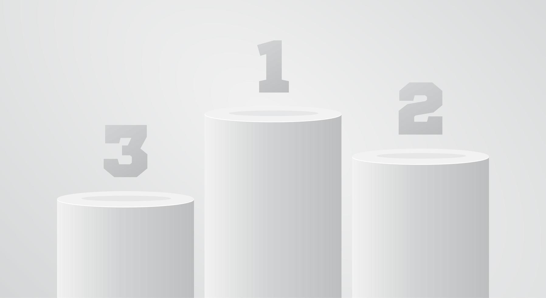 pedestal de vencedor branco. cena de suporte de pilar redondo. vetor ganhar pódio ou plataforma. estande de primeiro lugar.
