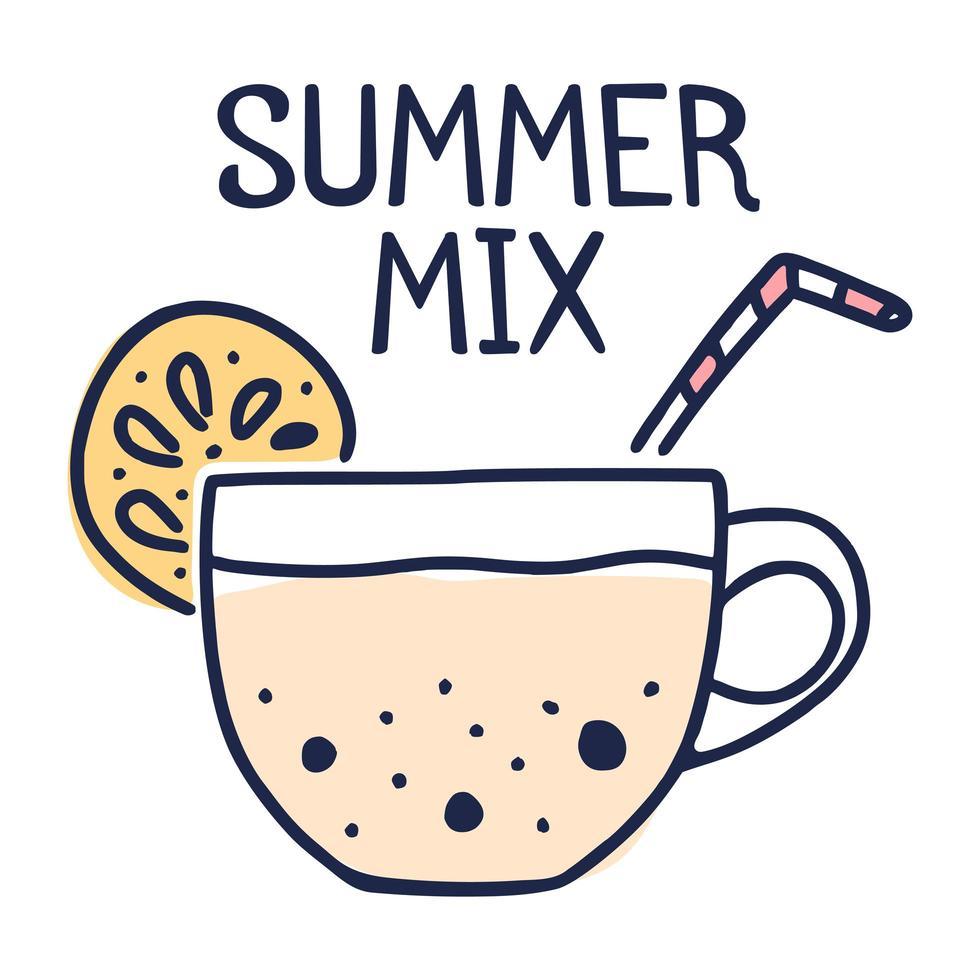 conceito de mix de verão. xícara de chá com limão e leite com bolhas de leite ilustração vetorial dos desenhos animados estilo doodle vetor