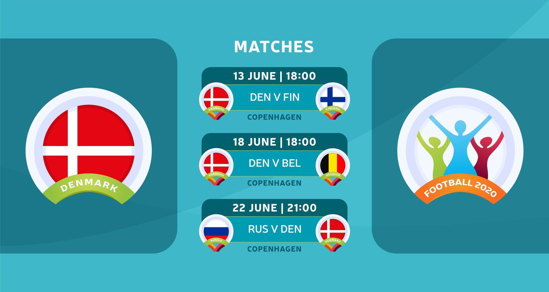 programação de jogos da seleção nacional da dinamarca na fase final do campeonato europeu de futebol de 2020. ilustração vetorial com o cascalho oficial das partidas de futebol. vetor