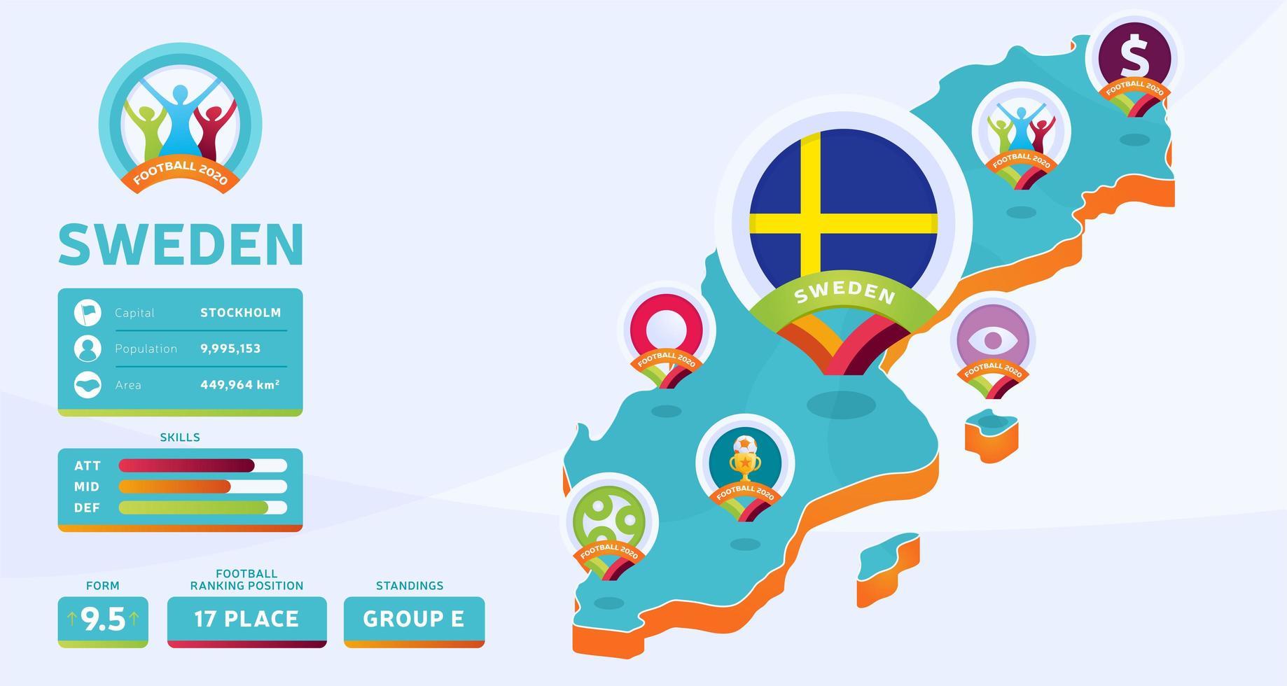 mapa isométrico de ilustração vetorial do país da Suécia. infográfico da fase final do torneio de futebol 2020 e informações do país. cores e estilo do campeonato oficial vetor
