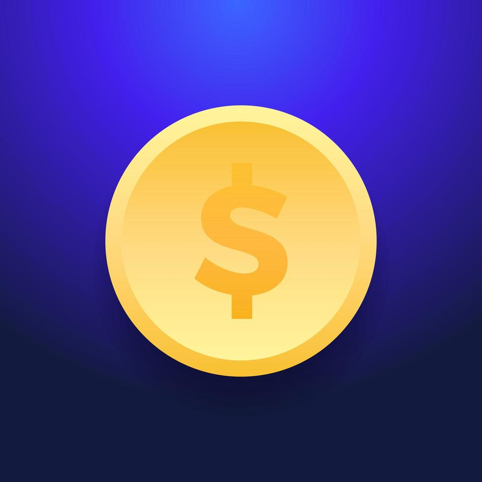 ícone de moeda de dinheiro dólar. ilustração plana de ícone de vetor de moeda de um dólar para web design