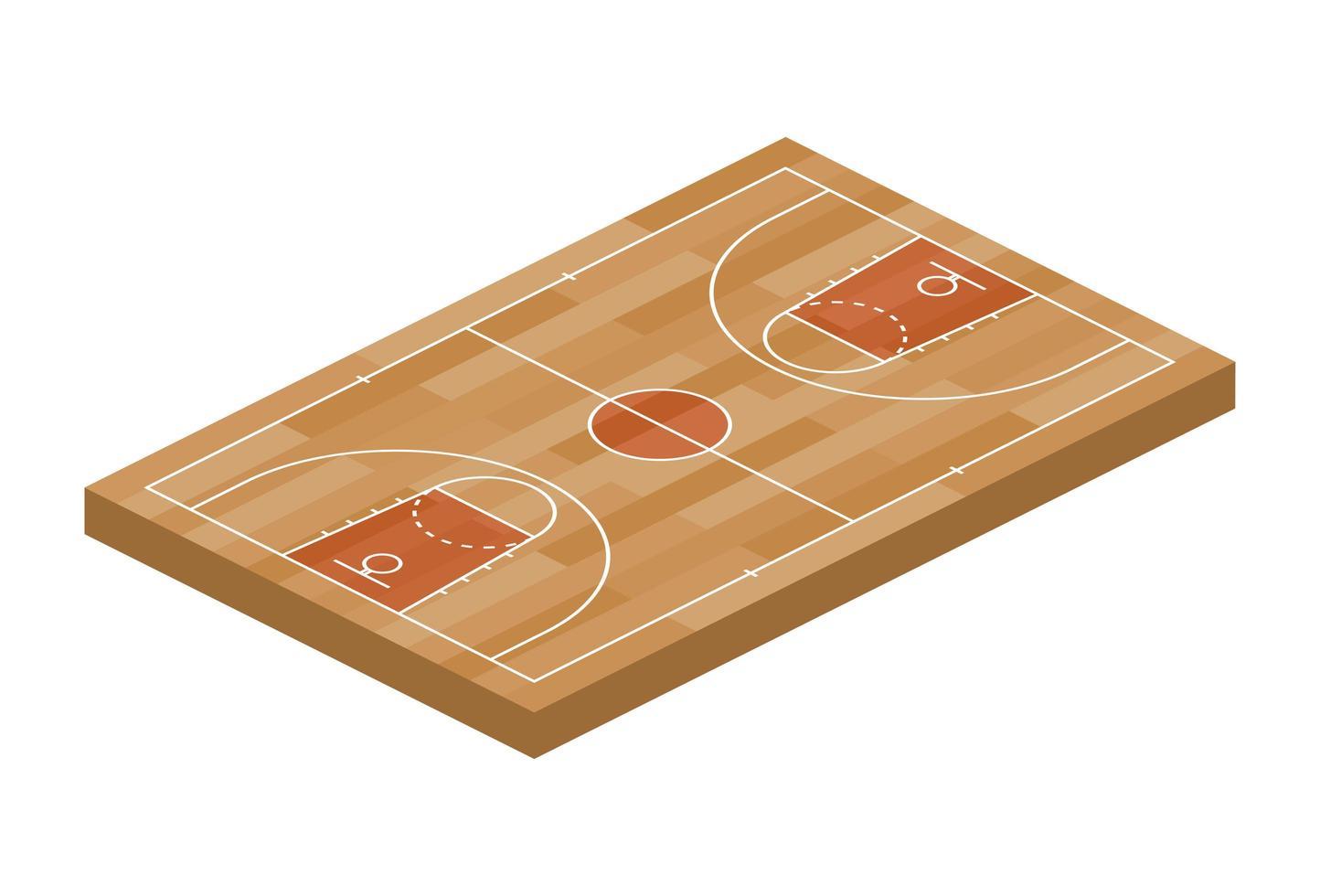 vista isométrica do esporte de campo de basquete para web, app. ilustração em vetor de campo laranja com aro, isolado no fundo branco. vista superior de uma quadra para o campo de design de jogos
