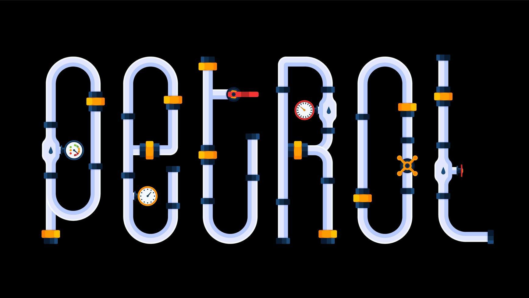 a gasolina é um conceito criativo. a palavra gasolina é feita em estilo de fonte de desenho animado em forma de tubos. vetor