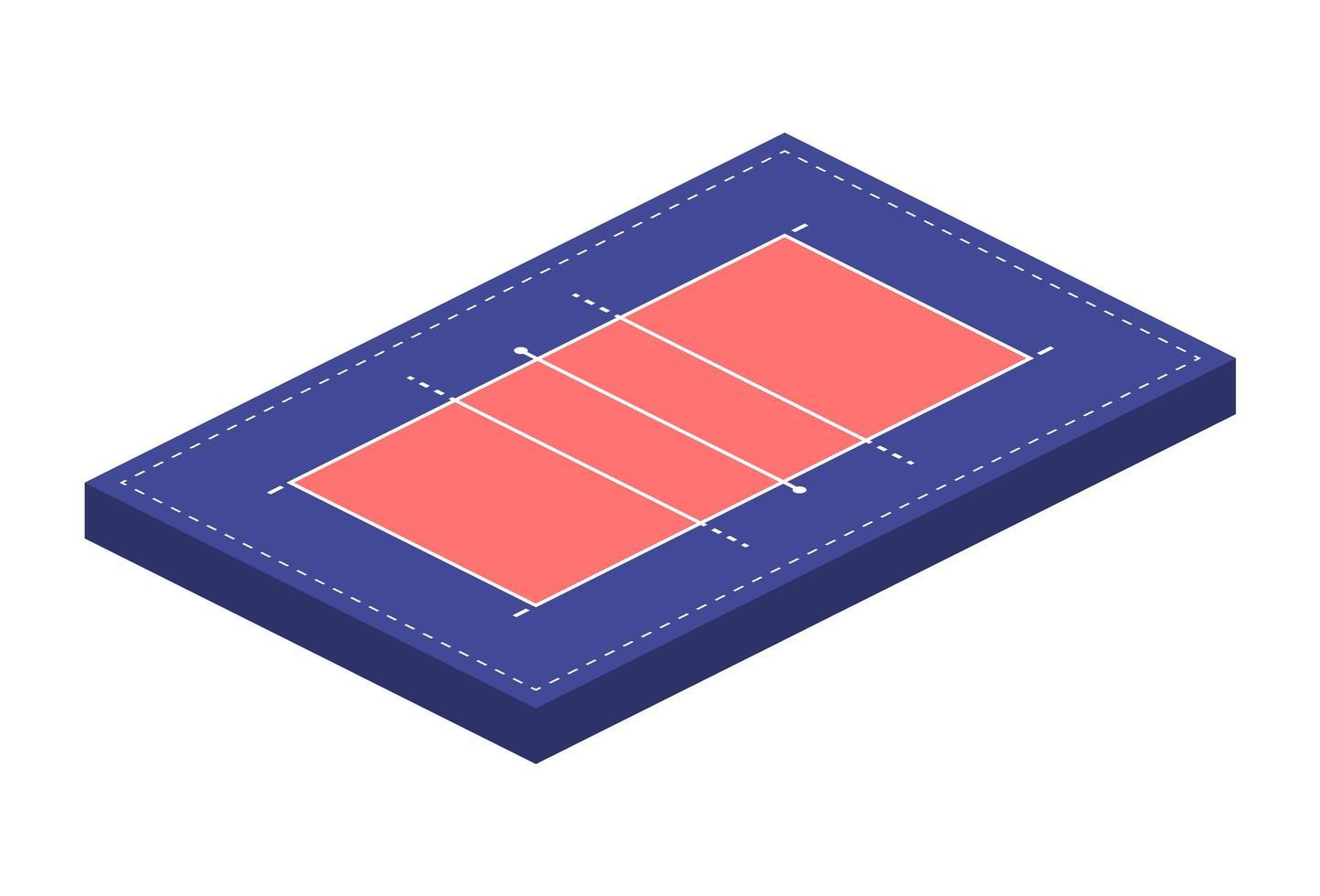 campo ou arena de quadra para jogar vôlei em isométrica, ilustração vetorial vetor