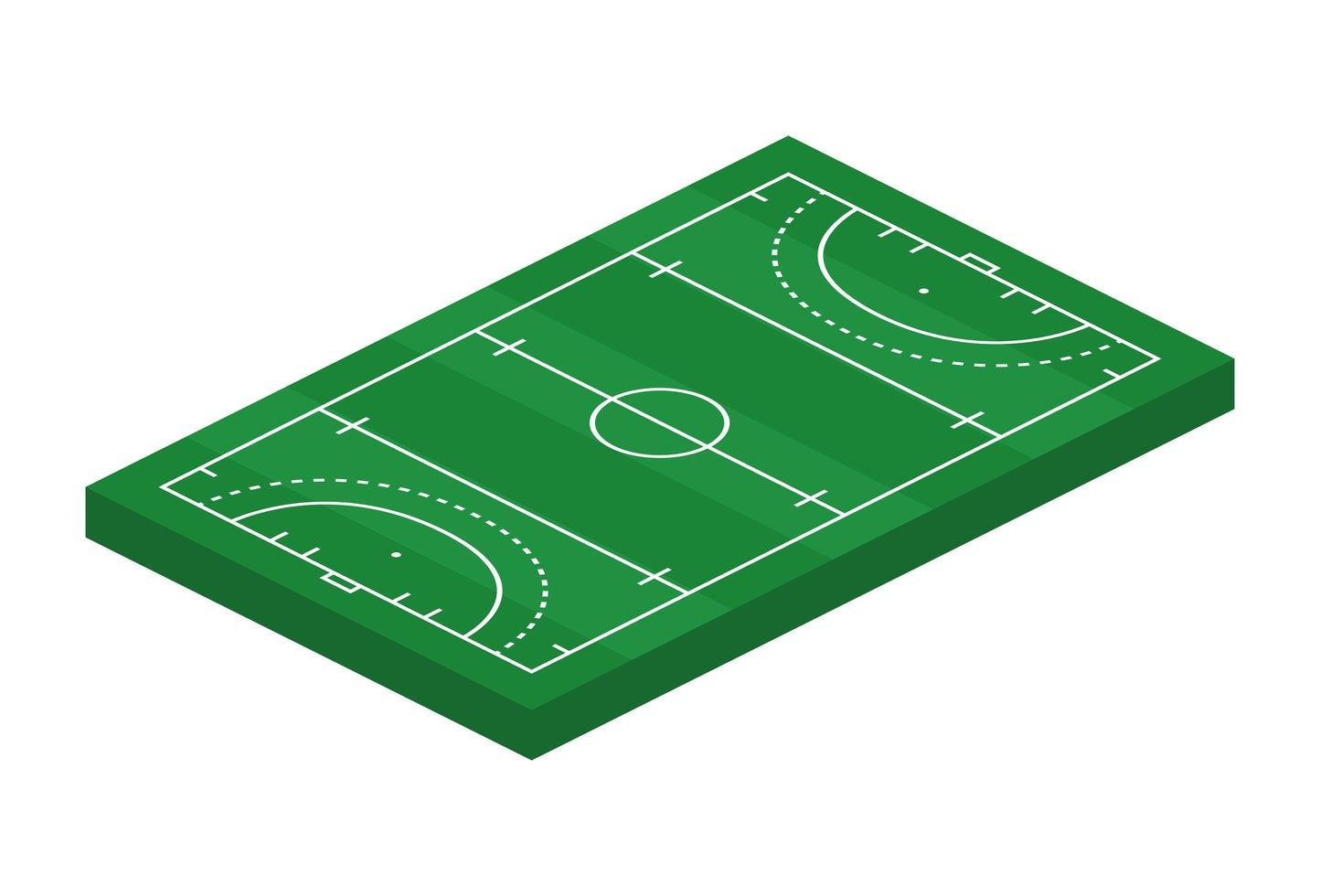 Campo de hóquei 3D isométrico de grama. ilustração em vetor tema esporte, campo de esportes de hóquei, estádio. elemento de design editável isolado para infográficos, banner