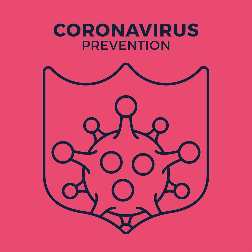 imune a ícone de germe de gripe, proteção contra vírus, escudo de higiene, prevenção bacteriana, símbolo de linha fina da web em fundo branco vetor