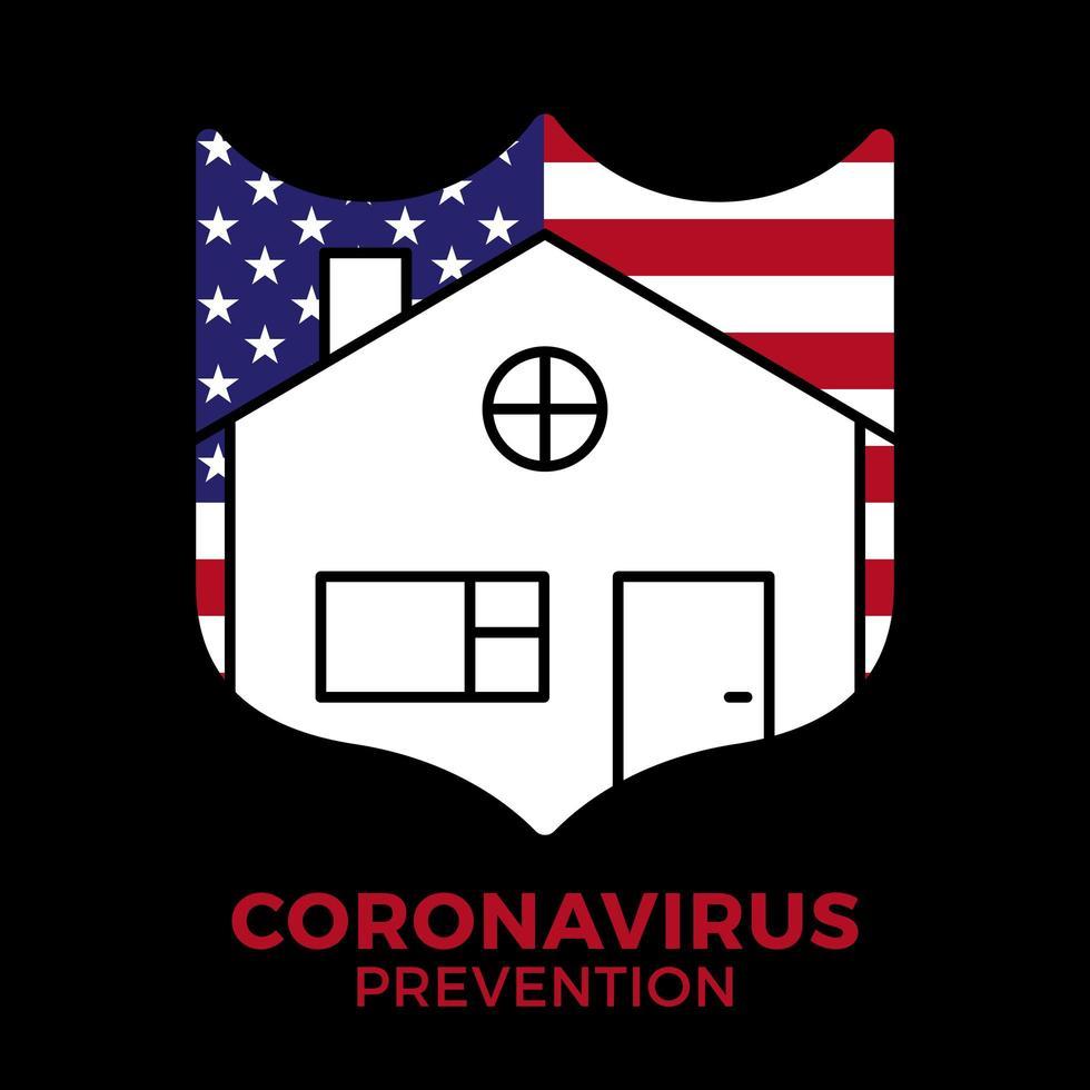 ali uma casinha com uma palavra fique em casa dentro. é um sinal após a campanha covid-19, fique em casa. o fundo é a bandeira dos EUA. vetor