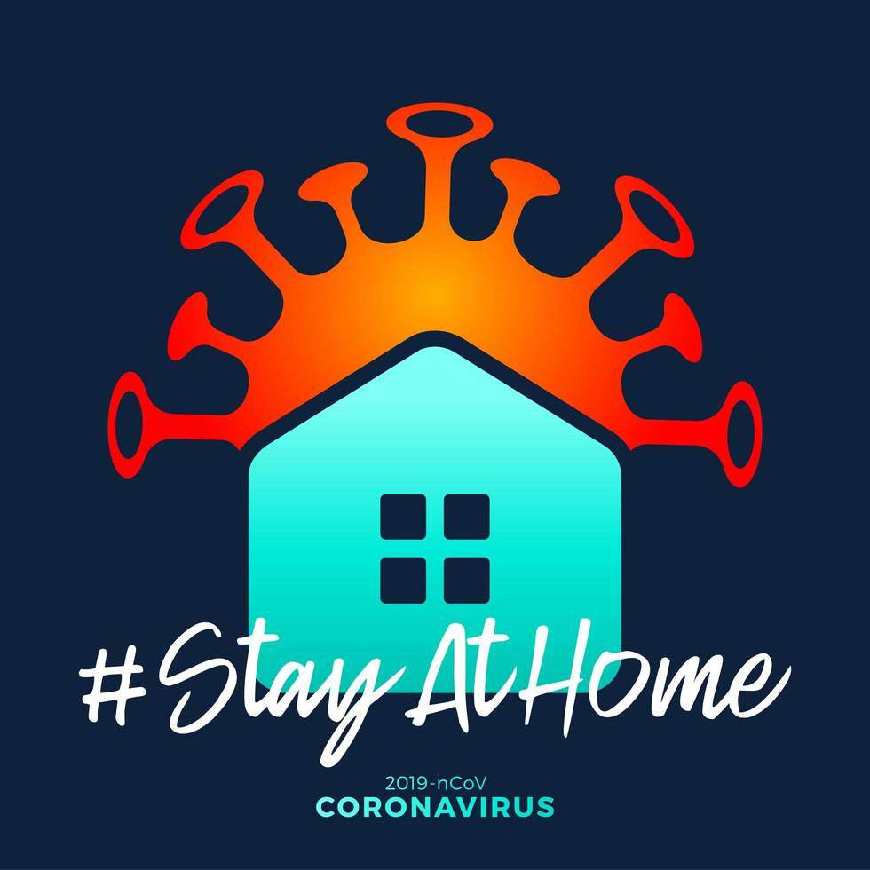 fique em casa assinar. covid-19 coronavirus escrito em tipografia poster design.save planet from coronavirus. fique seguro dentro de casa. prevenção de vírus. vetor