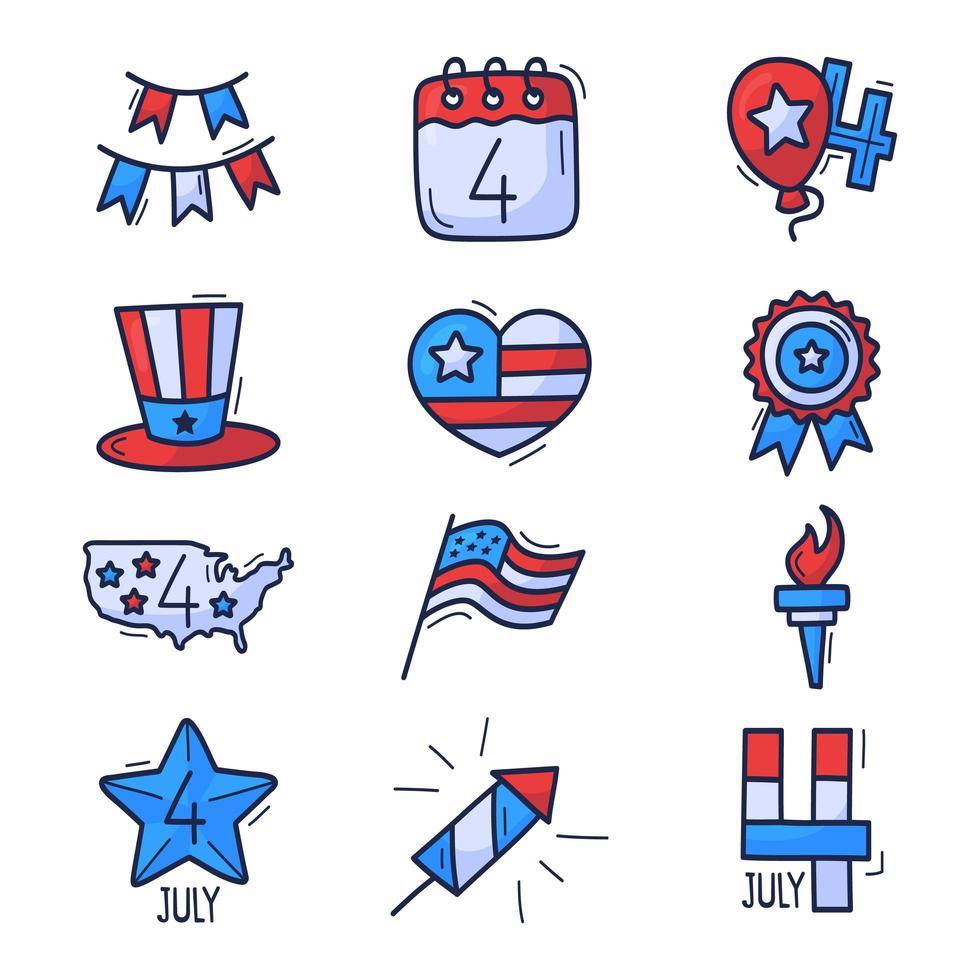 Conjunto de ícones de 4 de julho. dia da independência dos EUA mão desenhada doodle ícones isolados no fundo branco. mão desenhar desenho animado estilo tradicional estados unidos vetor