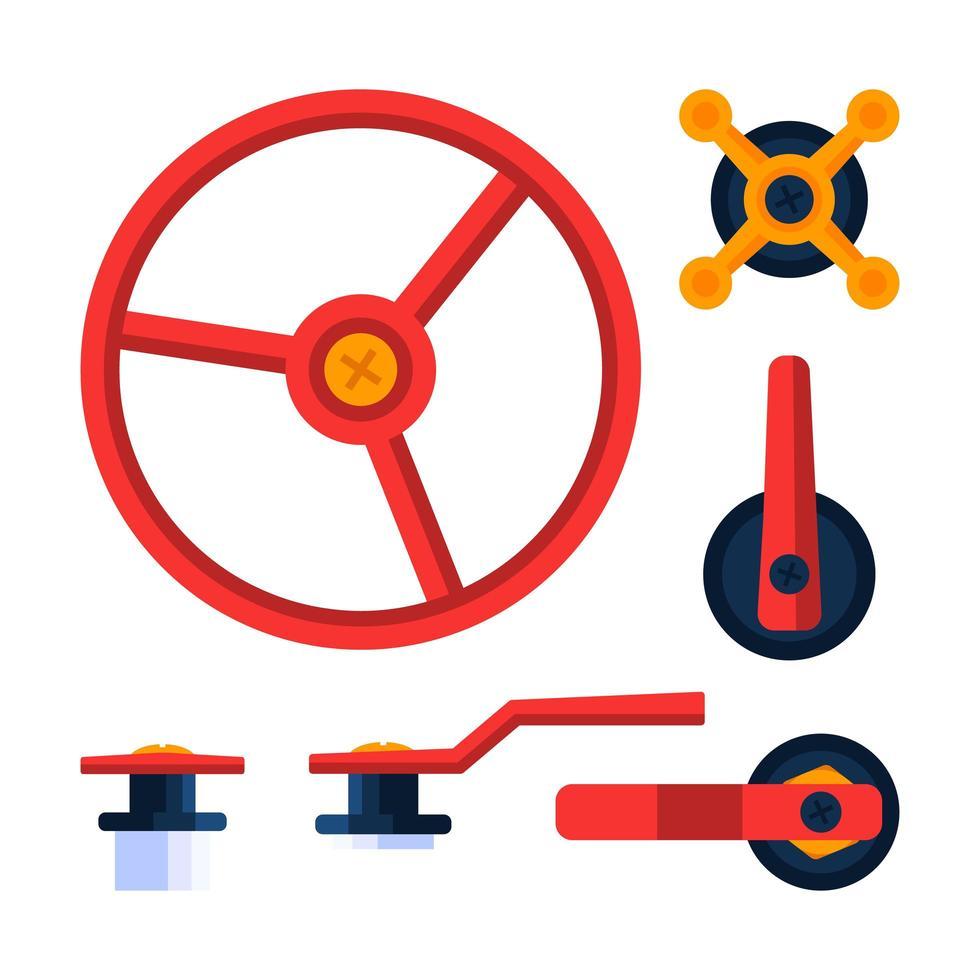 canalização de água peças de encanamento com válvula. ilustração vetorial conjunto de ações vetor