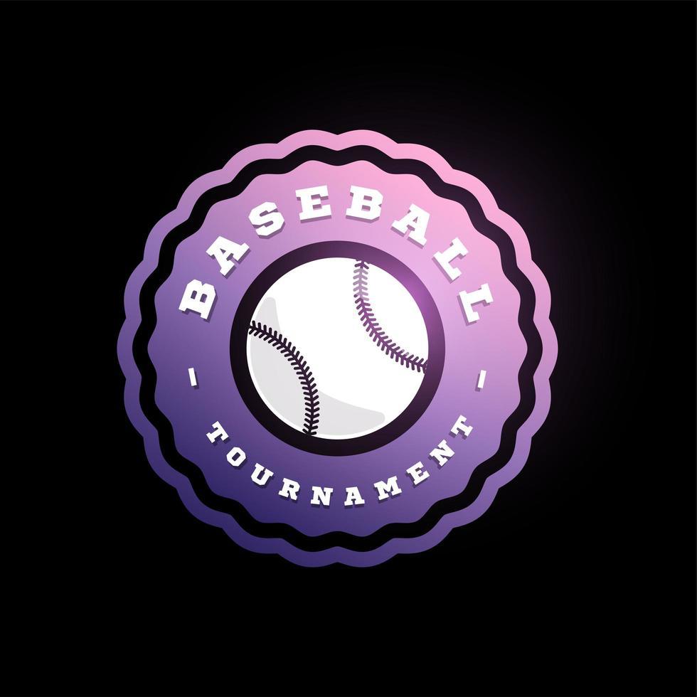 logotipo de vetor circular de beisebol. moderno tipografia profissional esporte estilo retro vector emblema e modelo de design de logotipo. design do logotipo do beisebol roxo.